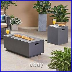Leo Outdoor 40-inch Rectangular Light Weight Concrete Gas Burning Fire Pit