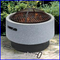 Light Grey Faux Concrete Round Fire Pit MgO BBQ Grill Bowl Camping Heater Burner