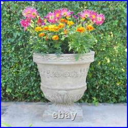 MPG Cast Stone Urn Planter 21 Inch Large Weather Resistant Indoor Outdoor Gray