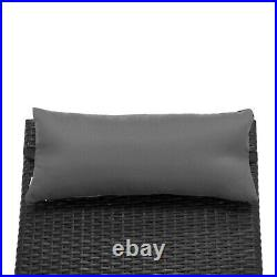 Mcombo Patio Chaise Lounge Chair, Black Wicker Lounge with Adjuatable Back LCBK