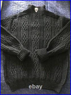 Mens Hand Knit DALE OF NORWAY HenningsvaerWeather Resistant 1/4 Zip Sweater/LG