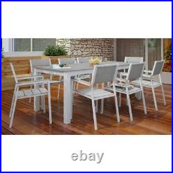 Modway Maine 9 Piece Outdoor Dining Set in White and Light Gray