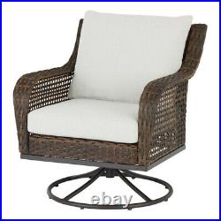 OUTDOOR PATIO BISTRO SET 3-Piece Gray Cushion Wicker Swivel Chair Side Table