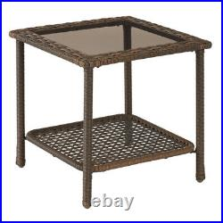 OUTDOOR PATIO BISTRO SET 3-Piece Gray Wicker Rocking Chair Side Table