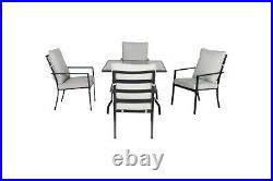OUTDOOR PATIO DINING SET 5-Piece Gray Soft Cushion Chair Table