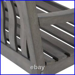OUTDOOR PATIO PORCH GLIDER BENCH 2-Person Loveseat Gray Wood