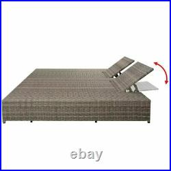 Outdoor Double Sun Lounger Daybed with Cushion Poly Rattan Furniture Set Gray