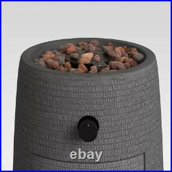 Outdoor Fire Column Round Firepit Propane Gas Gray Fireplace Cover Portable Yard