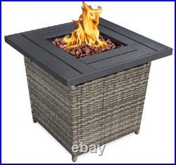 Outdoor Fire Pit Table Patio Backyard Heater LP Gas Wicker Plank Top Square Gray