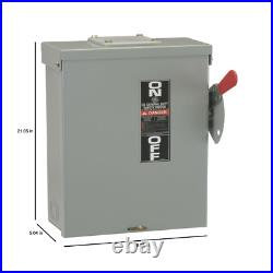 Outdoor General-Duty Safety Switch 100 Amp 240-Volt Fusible Interlock Cover Safe
