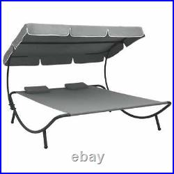 Outdoor Lounge Bed with Canopy and Pillows Gray