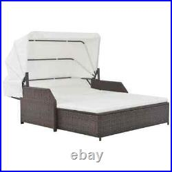 Outdoor Lounge Canopy Rattan Patio Sofa Bed Set Sunbed Daybed Furniture Cushion