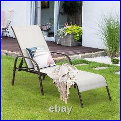 Outdoor Patio Lounge Chair Chaise Fabric Adjustable Reclining Armrest Pool Grey