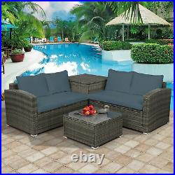 Outdoor Patio Sofa Set Wicker Rattan Sectional Cushioned Furniture withStorage Box