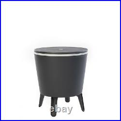Outdoor Side Table Patio Insulated Beverage Cooler Wine Bar Storage Plastic Gray