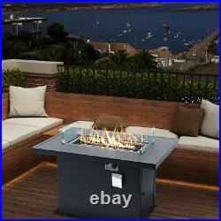 Outdoor fire pit table Aluminum propane gas Rectangular With windshield