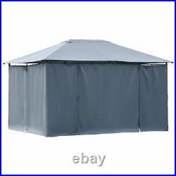 Outsunny 13' x 10' Steel Outdoor Patio Gazebo Pavilion Canopy Tent Grey
