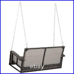 Outsunny 2-Person Outdoor Wicker Hanging Porch Swing Bench with Cushion