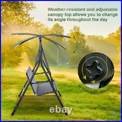 Outsunny 3-Person Porch Patio Swing with Weather-Fighting Tilt Canopy, Grey