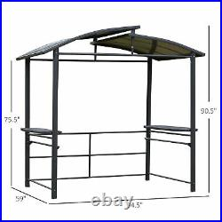 Outsunny 8' x 5' Outdoor Grill BBQ Gazebo with Side Shelves Great Ventilation PC