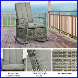 Outsunny Outdoor Rattan Recliner Rocking Chair Cushioned With Footrest