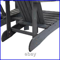 Outsunny Outdoor Tete-A-Tete Bench Wood Adirondack Chair with Center Table Grey