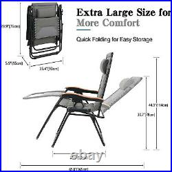 Oversized Zero Gravity Recliner Lounger Padded Outdoor Folding Patio Chairs Gray