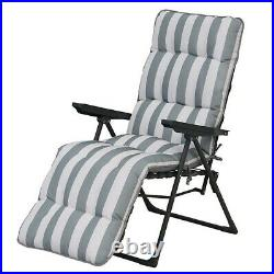Padded Reclining Sun Lounger Grey White, Outdoor Cushioned Garden Deck Chair Bed