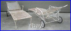 Pair Russell Woodard Salterini wrought iron mesh chaise lounge Hollywood Regency