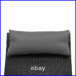 Patio Chaise Lounge Chair, Black Wicker Lounge Chair with Adjustable Back LCBK