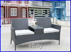 Patio Furniture Garden Seat Rattan Wicker Lover Chair Office Sofa withCoffee Table