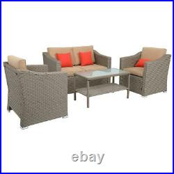 Patio Furniture Set 4 Pcs Outdoor Wicker Sofas Rattan Chair Wicker with Cushions