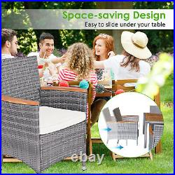 Patiojoy 7PCS Patio Rattan Dining Set Cushioned Chair Wood Table Mix Gray