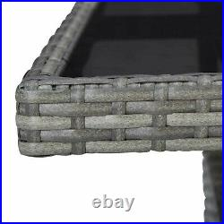 Poly Rattan Outdoor Dining Table Glass Table Top Grey Garden Patio Furniture