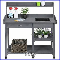 Potting Bench Potting Table Garden Work Benches WithShelf Sink Drawer Outdoor Used