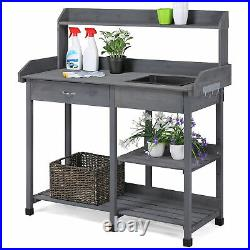 Potting Bench Table Garden Work Planting Benches with Shelf Sink Drawer Outdoor