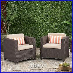 Riley Outdoor Wicker Print Club Chair with Cushions (Set of 2)