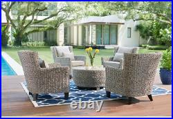 Round Coffee Table All-Weather Wicker Patio Sturdy Powder-Coated Steel Frame