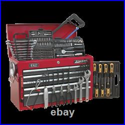 Sealey Topchest 9 Drawer with Ball Bearing Slides Red/Grey & 205pc Tool Kit