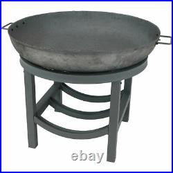 Sunnydaze 30 Fire Pit Cast Iron Wood-Burning Fire Bowl with Built-In Log Rack
