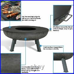 Sunnydaze 40 Fire Pit Cast Iron Wood-Burning Fire Bowl with Cooking Ledge