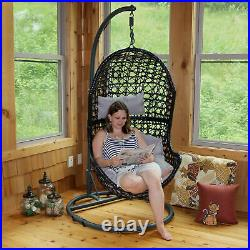 Sunnydaze Cordelia Hanging Egg Chair with Stand Resin Wicker Gray Cushions