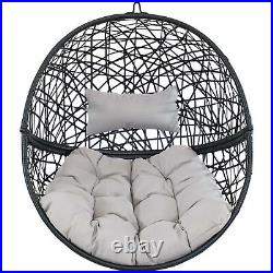 Sunnydaze Gray Jackson Hanging Basket Egg Chair Swing with Stand Resin Wicker
