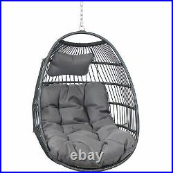 Sunnydaze Julia Hanging Egg Chair with Gray Cushions 44 Inches Tall