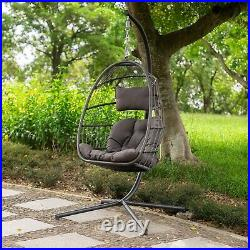 Swing Egg Chair Indoor Outdoor Patio Wicker Hanging Chair with Stand