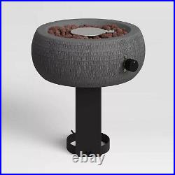 Table Top Fire Pit Round Bowl Propane Gas Burner Gray Fireplace Garden Outdoor