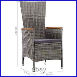 VidaXL 7 Piece Outdoor Dining Set with Cushions Poly Rattan Gray Table Chairs