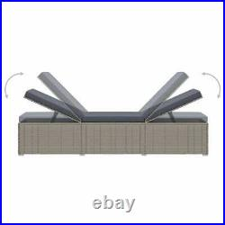 VidaXL Sun Lounger with Cushion Poly Rattan Gray Outdoor Lounger Chair Seat