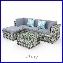YITAHOME 5PC Outdoor Patio Furniture Sectional Sets Rattan Chair Wicker Sofa Set
