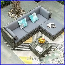 YITAHOME 5 Pieces Outdoor Furniture Sectional Sofa Patio Sets Rattan Wicker